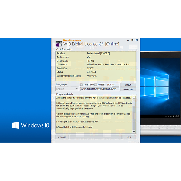 Windows 10 Digital License C# 3.7